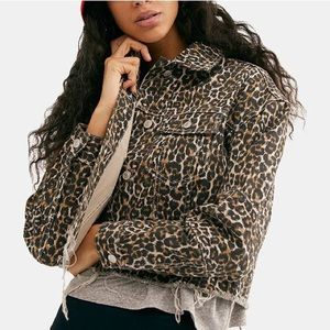 Free People Cheetah Printed Cropped Denim Jacket